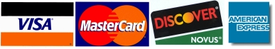 We Accept Visa, Mastercard, Discover, and American Express credit cards.